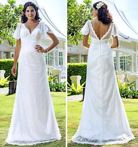 V-neck and Plunging back wedding gown